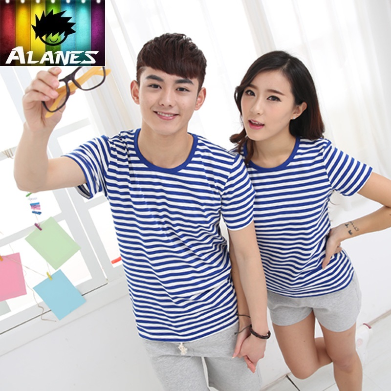 Summer men's korean slim sea striped shirt sleeve t-shirt female navy short sleeve qlz lovers five bars of the young pioneers