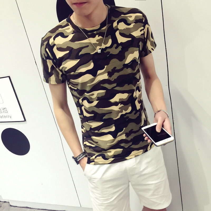 Summer military camouflage short sleeve t-shirt on clothes korean version of slim sleeve male taxi fertilizer xl tide fat men