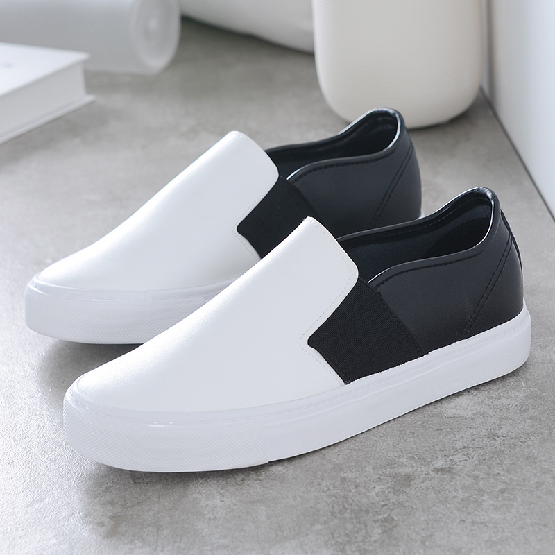 Summer new classic black and white stitching pu leather shoes lazy shoes a pedal shoes students casual shoes tide shoes wild