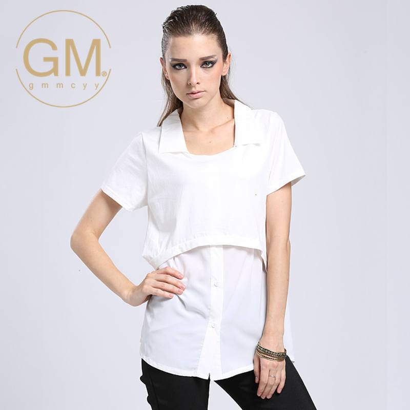 Summer new european and american fashion gmmcyy elegant lapel stitching short sleeve t-shirt large size women's 3 568