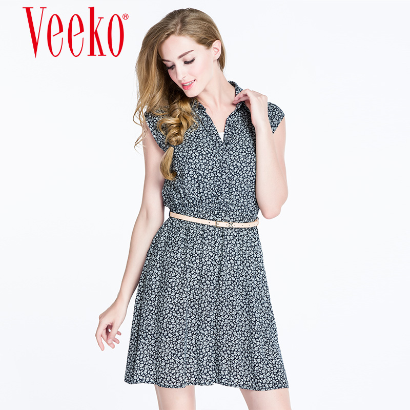 Summer new fashion casual style shirt Veeko2016 elastic waist floral dress a word skirt summer