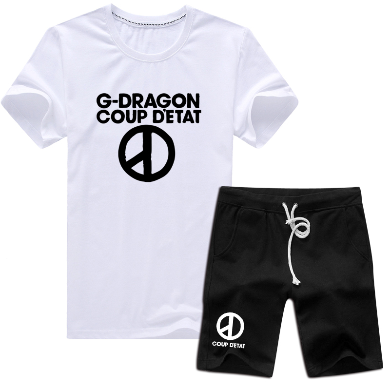 Summer new korean bigbang gd right zhilong same paragraph cotton short sleeve t-shirt shorts suit large size men and women
