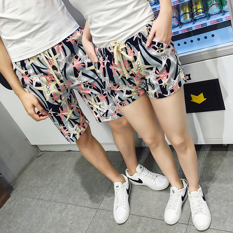 Summer new korean version of casual shorts female slim was thin three pants beach lovers male big yards cotton shorts tide