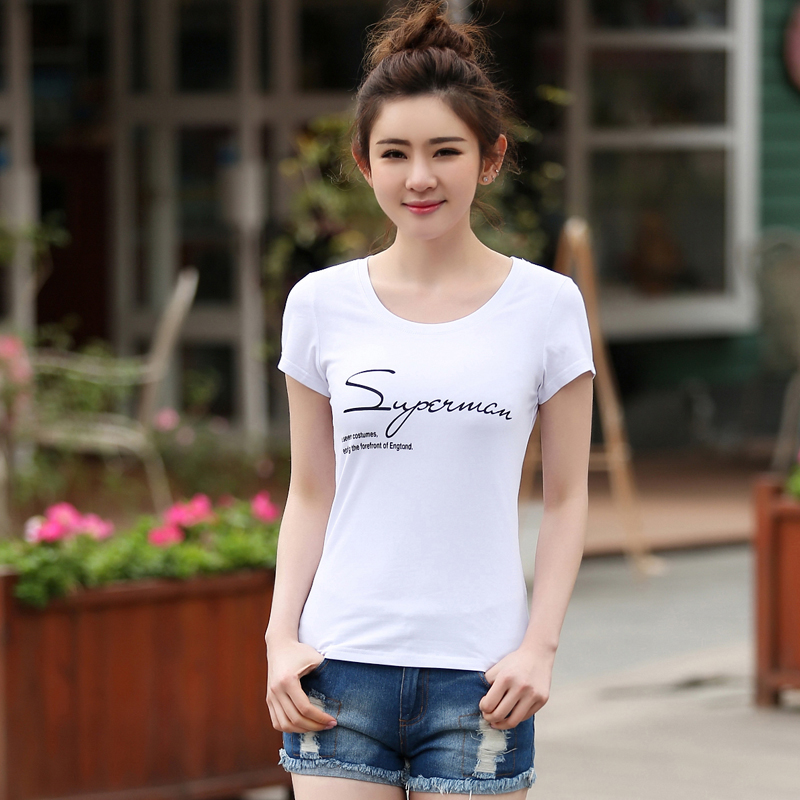 Summer new korean women cotton round neck short sleeve t-shirt female white shirt compassionate bottoming shirt printing large size