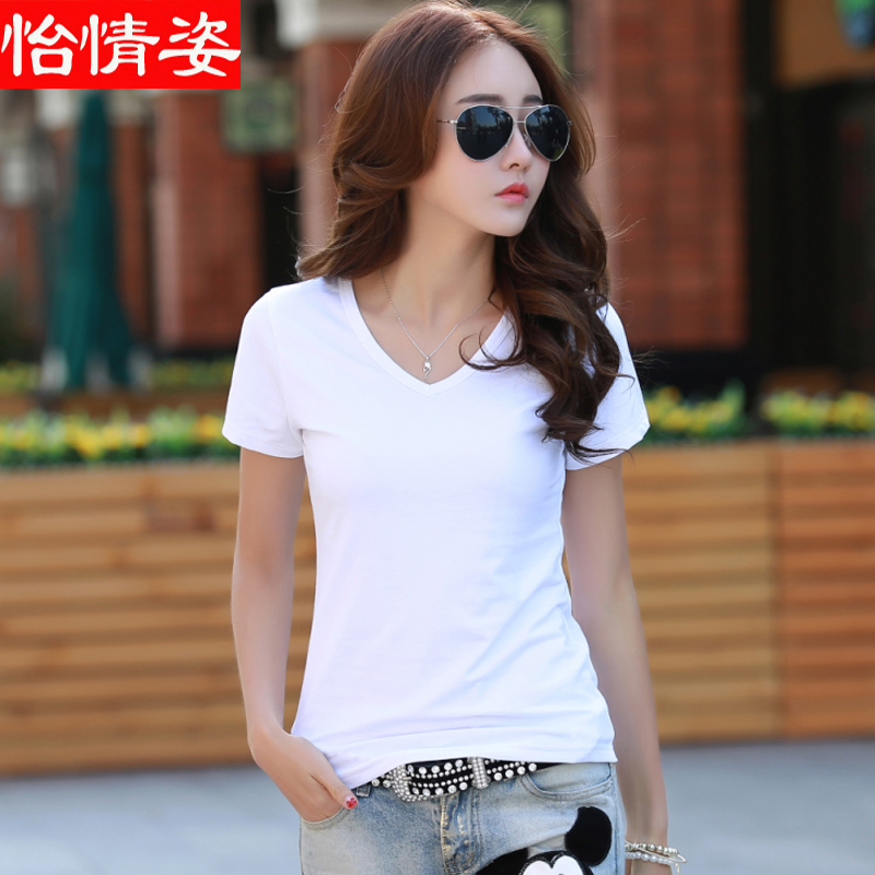 Summer new large size was thin wild round neck t-shirt bottoming shirt female korean version of a solid color repair body v-neck short sleeve cotton t-shirt