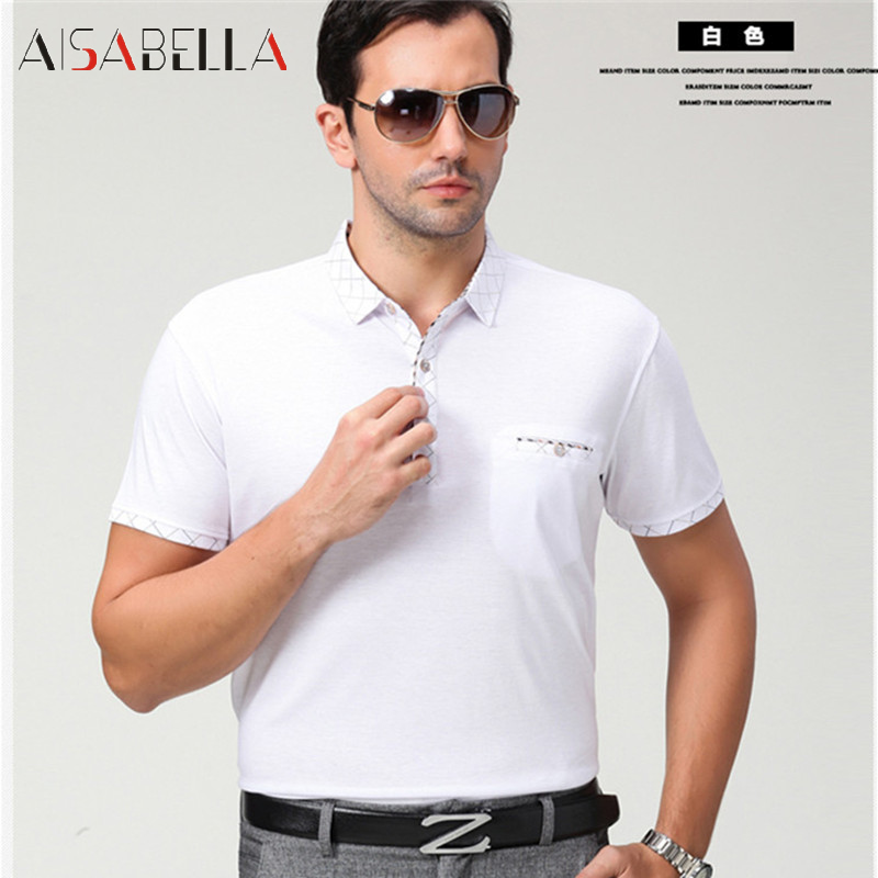 Summer new men's short sleeve t-shirt aisabella2016 rimulaå·71 lapel fashion business casual large size models