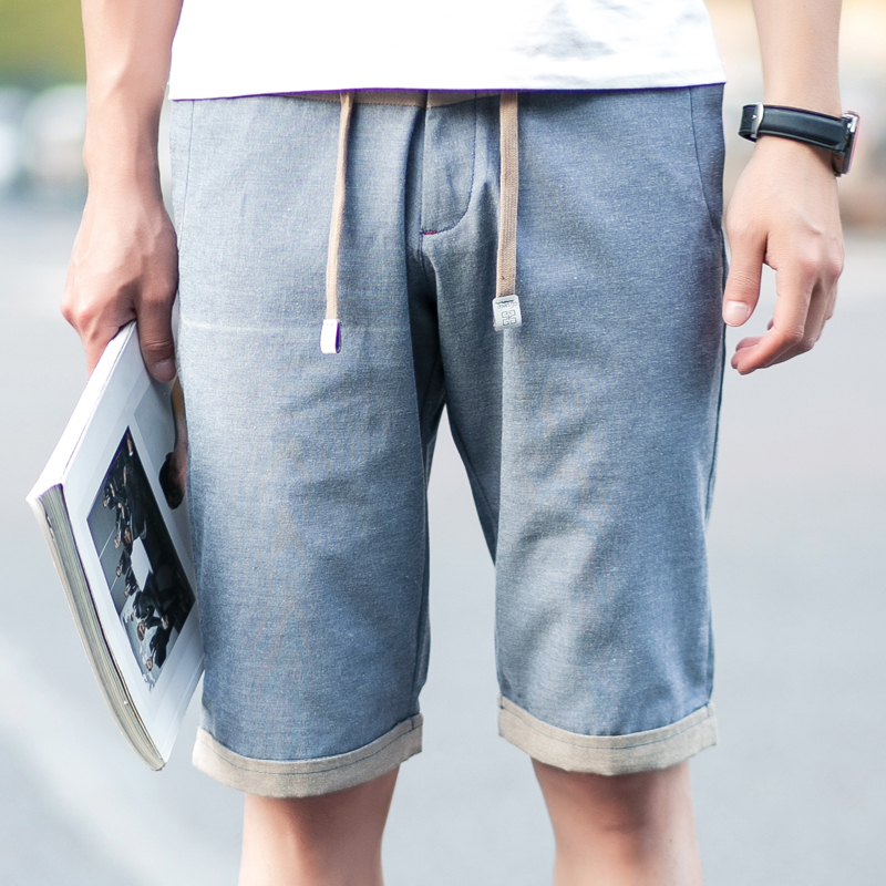 Summer new simple solid color slim casual pants young men big yards thin summer influx of five pants cotton sports