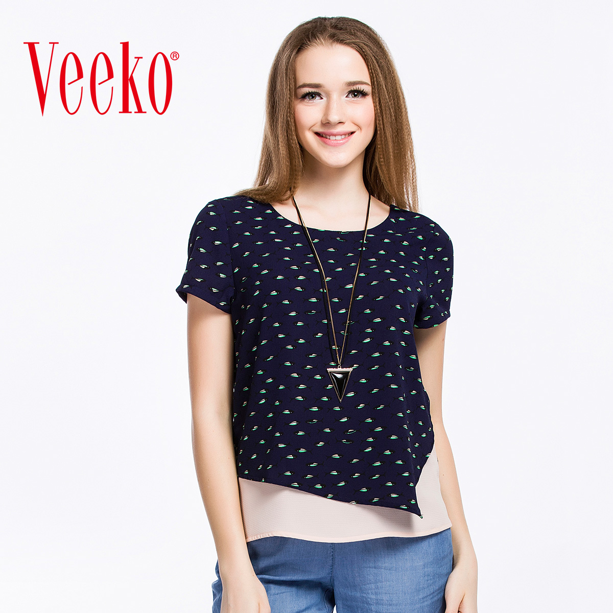 Summer new street fashion casual shirt Veeko2016 irregular round neck short sleeve t-shirt female summer wild