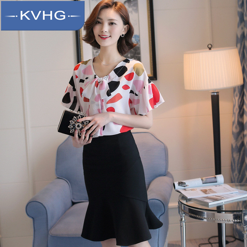 Summer new women's wild KVHG2016 ms. popular wave point horn sleeve round neck short sleeve chiffon shirt 0379