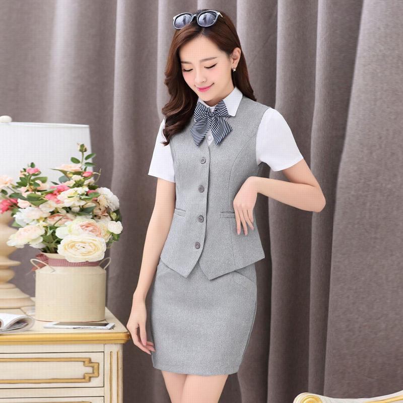 Summer paragraph korean temperament piece skirt suit women's short sleeve shirt in proper career skirt suit skirt suit