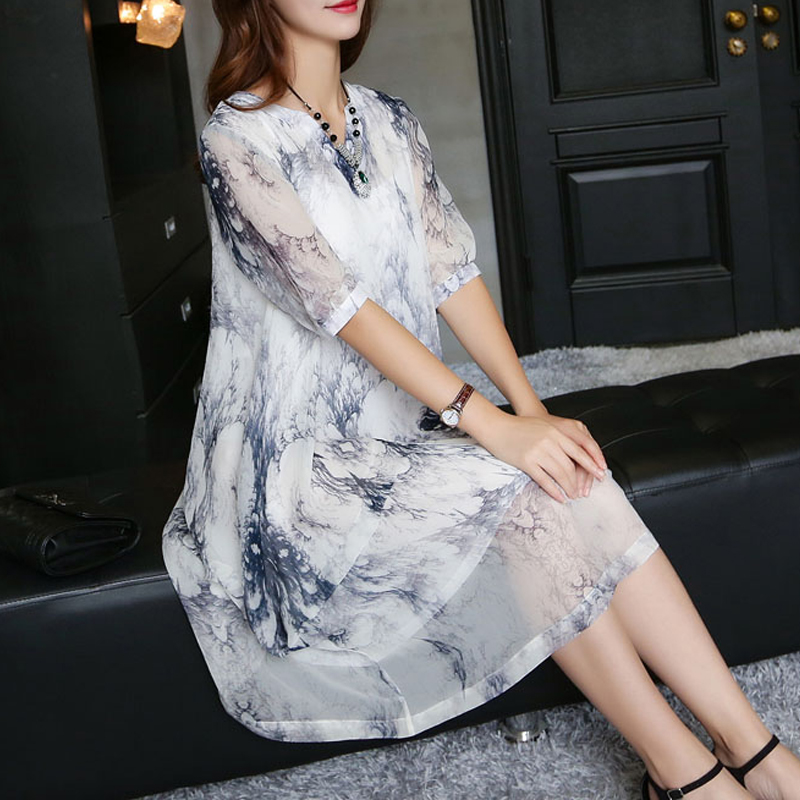 Summer silk dress middle-aged mother dress middle-aged women in the long section was thin big yards short sleeve chiffon dress