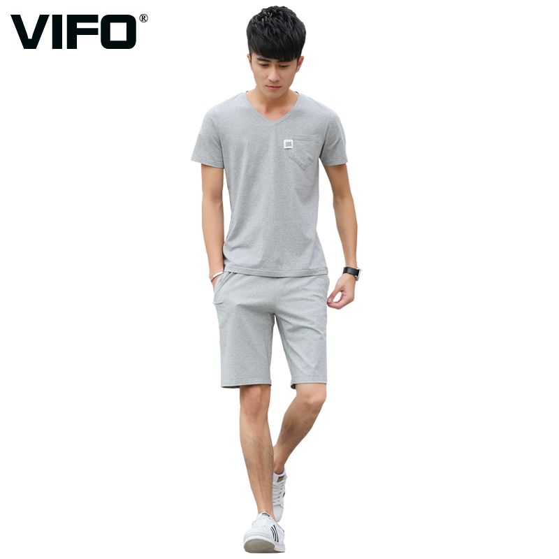 Summer sports suit male cotton round neck short sleeve t-shirt shorts leisure suit male gym sportswear jogging suits