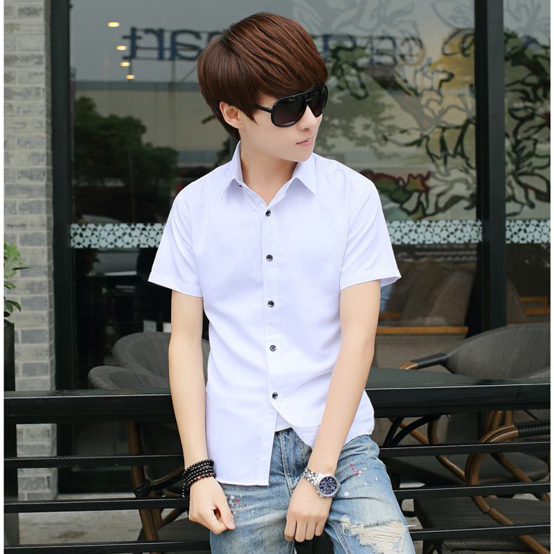 Summer thin section pure white half sleeve short sleeve shirt men korean fashion printing slim influx of men casual shirt