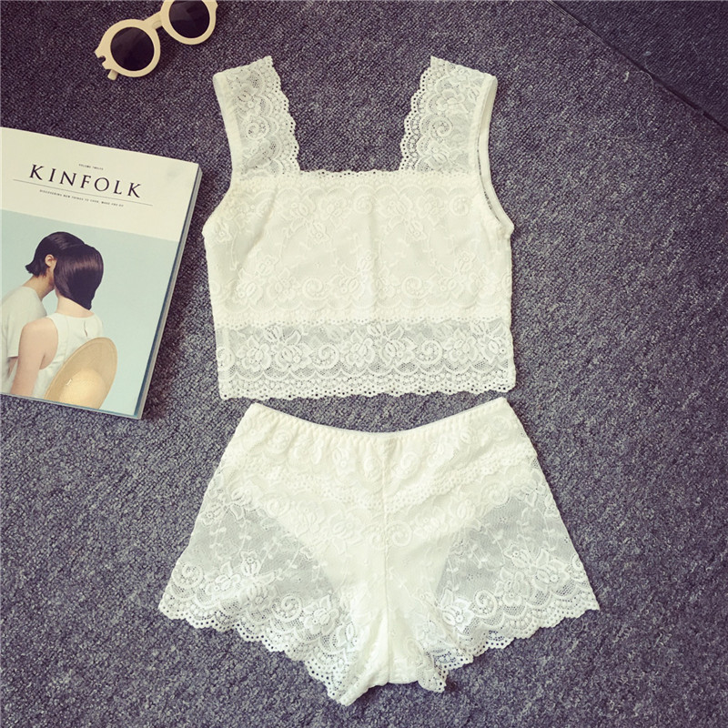 Summer women korean version of Cherrykoko2016 lace wrapped chest anti emptied vest/anti emptied safety pants liesl