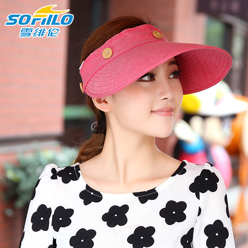 a998c6206cd Get Quotations · Sun hat female summer large brimmed sun hat empty top hat  cap topless sun hat cycling