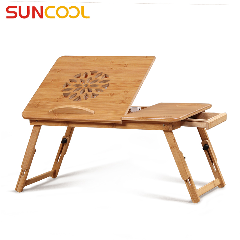 Sun valley laptop bed desk computer desk lazy tables folding equipment cooling fan bamboo desk minimalist