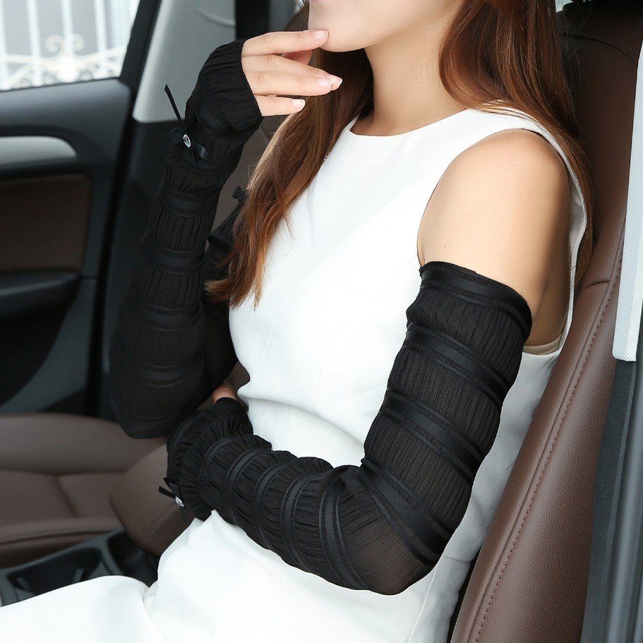 Sunscreen gloves female summer long section of thin icy silk electric car battery protection arm sleeve cuff lace spring drove