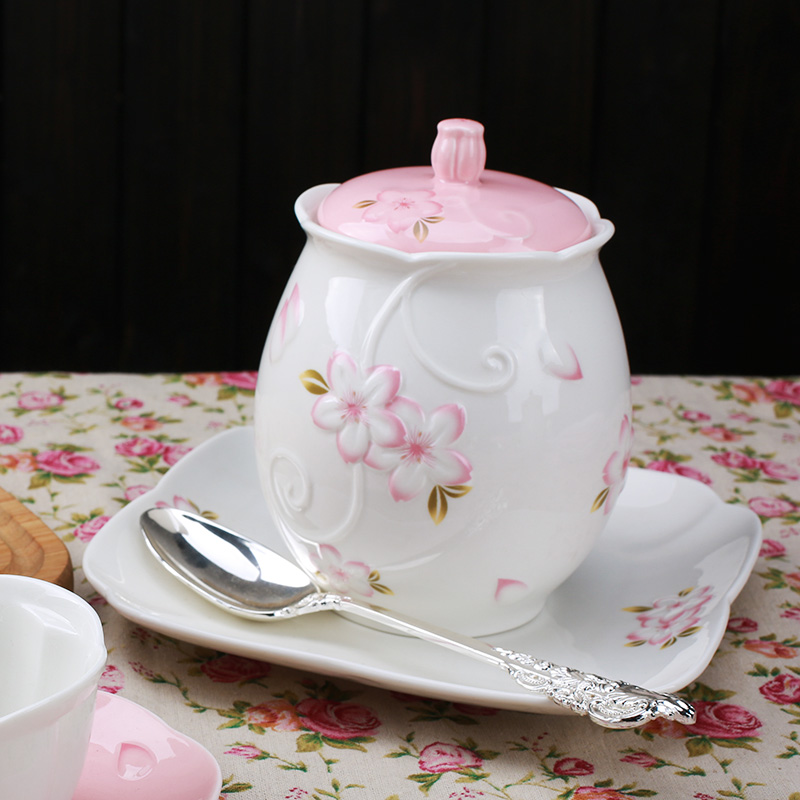 Suo cherry kitchen large jar sealed cans home relief ceramic flower tea cafe candy grains storage tank storage tank
