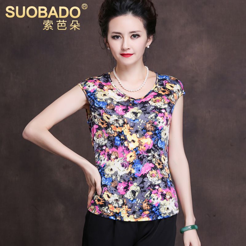 Suoba duo 2016 new summer color short sleeve stretch knit silk blouse silk t-shirt