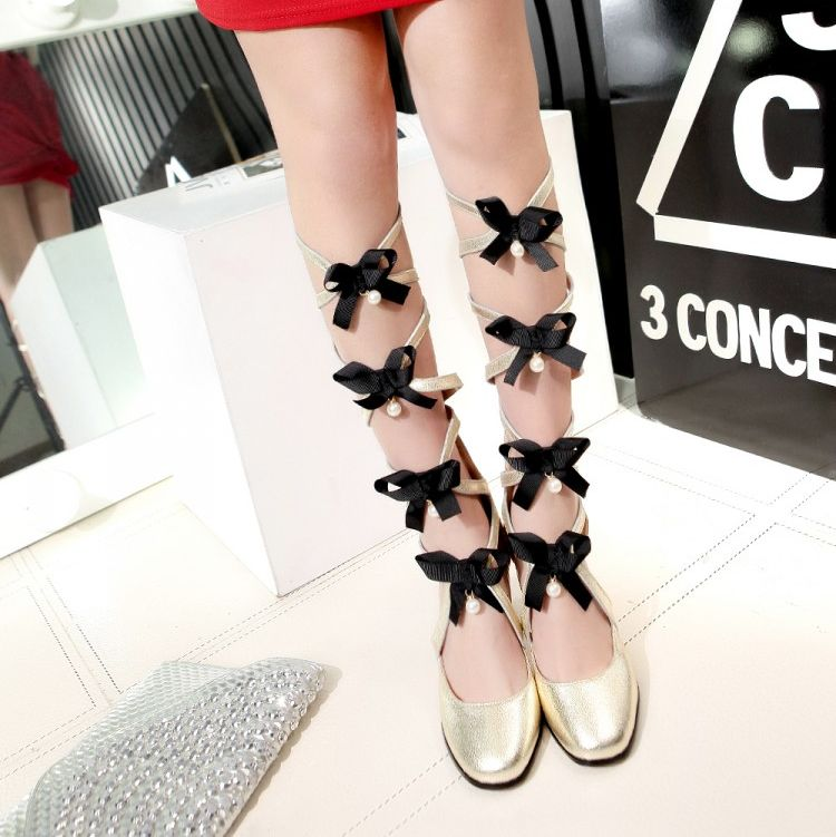 Suofei yi 2016 new spring shoes leather high heels sub hollow cross straps tall boots spring flowers shoes