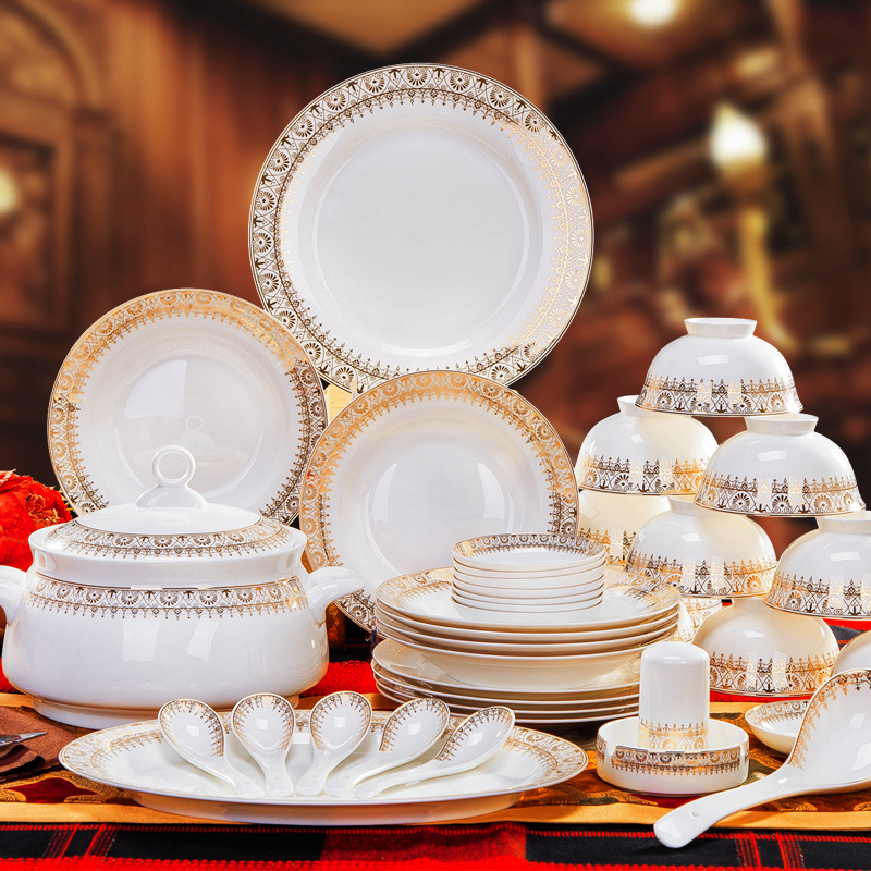 Superior grade bone china porcelain dishes suit cutlery sets 56 jingdezhen ceramic dishes suit gifts home