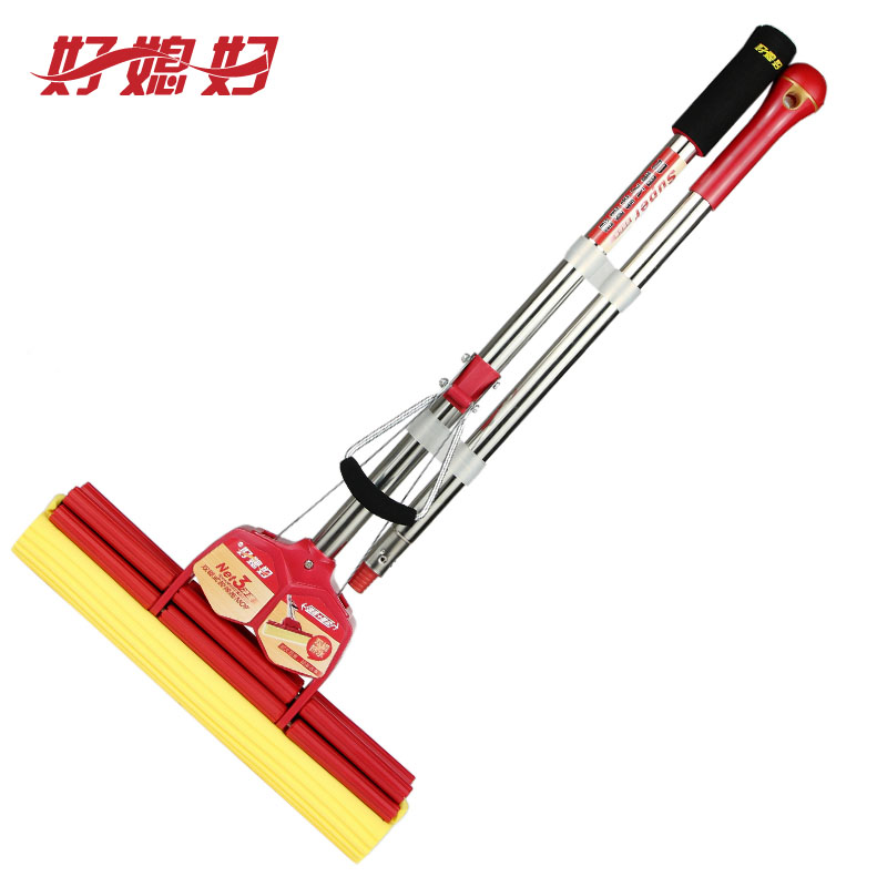 [Supermarket] lynx good wife glue cotton mop 38cm stainless steel rod oversized double rollers squeeze water collodion Mop mop
