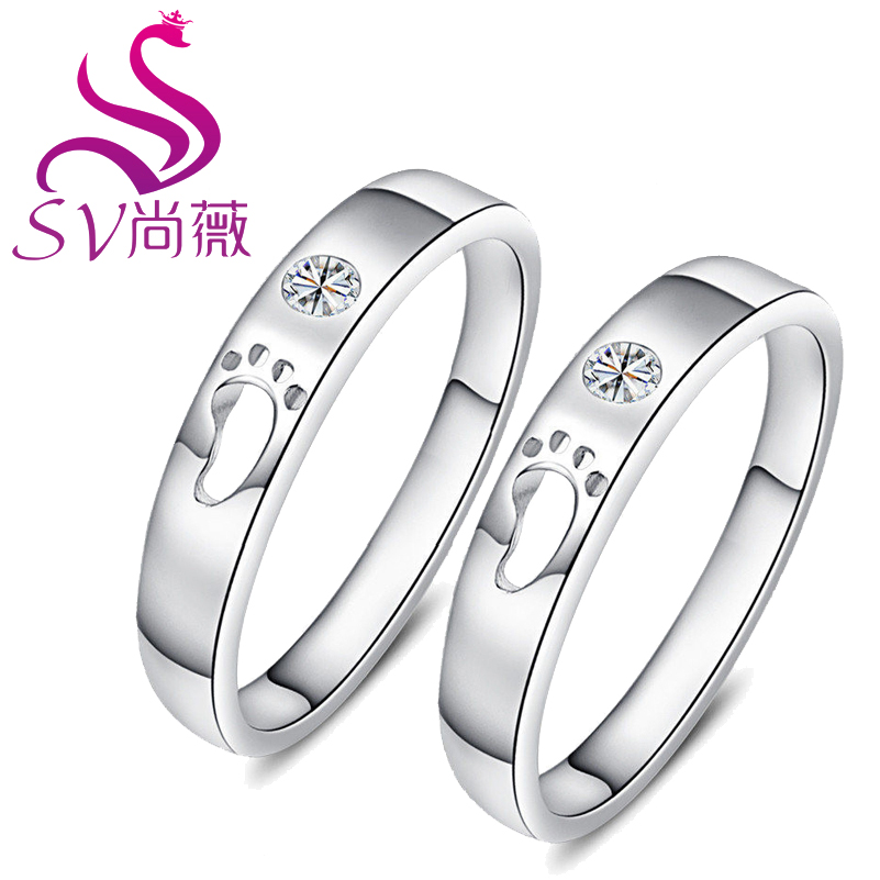 Sv shang wei couple rings 925 silver rings korean version of the footprints of love couple rings free gift lettering