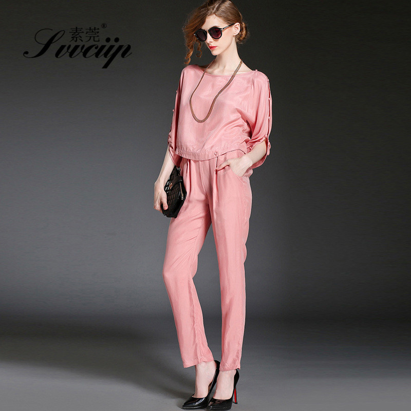Svvciip/su wan autumn new loose round neck sleeve shirt waist trousers women suit 2489