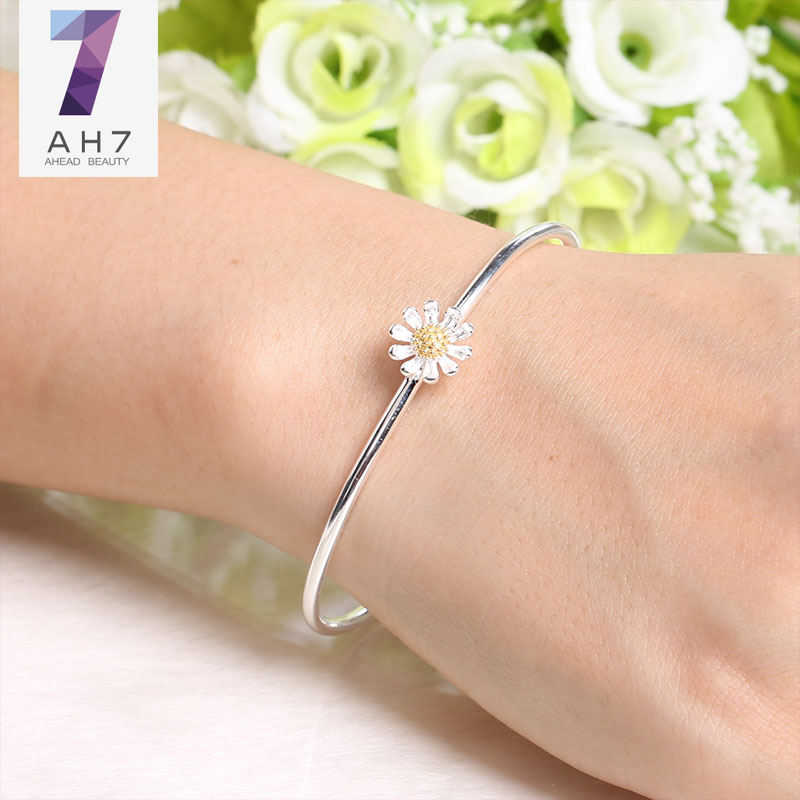 Sweet little daisy ah7 s925 silver bracelet ms. female models temperament simple bracelet japanese and korean version of sunflower