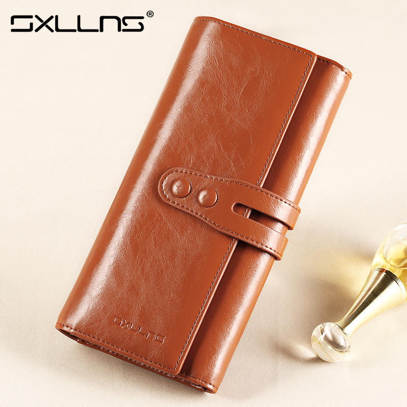 Sxllns wallet female long section of retro leather buckle korean female wallet card package large capacity large clutch bag phone