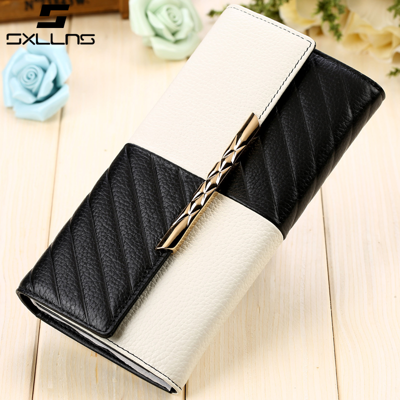 Sxllns wallet women wallet new leather wallet female long section of european and american tide leather wallet large capacity wallet women wallet