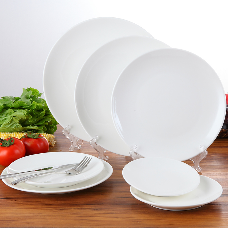 Table 6/7/8/9/10/11/12 inch white ceramic flat plate steak western compote dish sushi plate