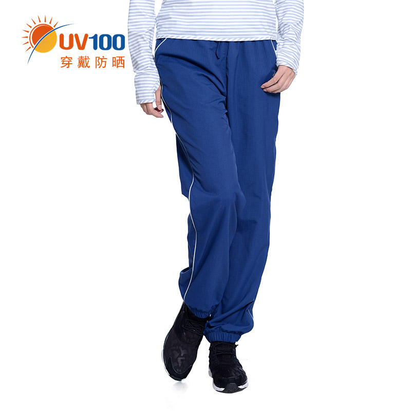 Taiwan uv100 casual trousers female summer sunscreen thin section breathable elastic pants big yards loose straight trousers 51607