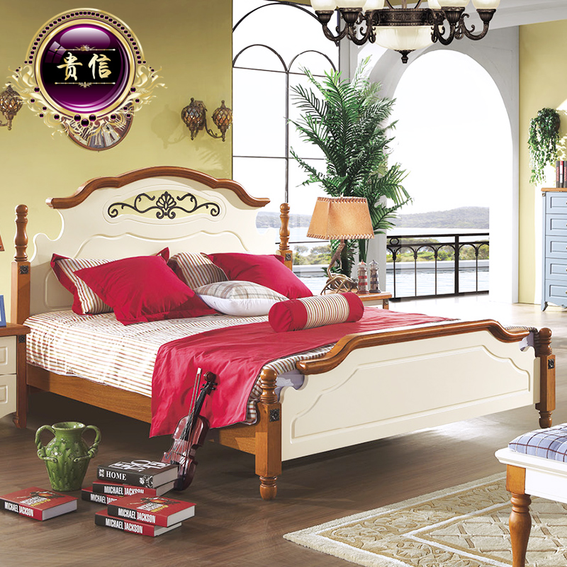 Takanobu furniture mediterranean bed wood bed double bed princess bed continental bed 1.8 m american country style bed