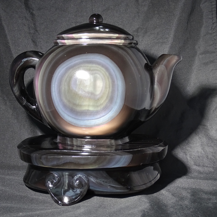 Talasite ice crystal ice kinds of obsidian ornaments teapot kettle teapot seat even one of the ice kind of rainbow eye
