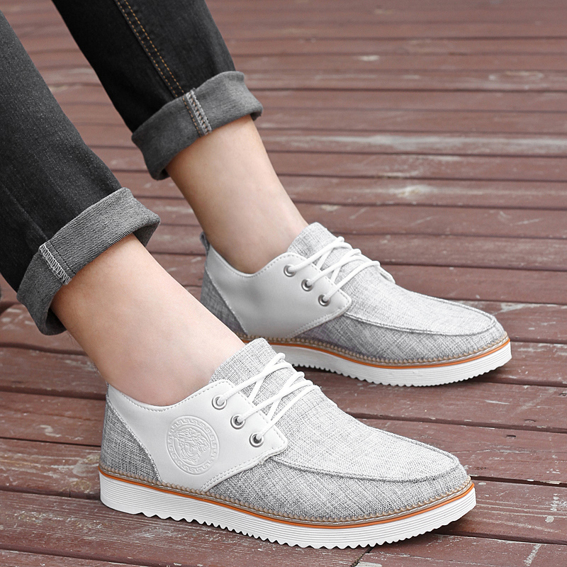Tan rui new fall fashion trend of casual breathable linen canvas shoes men shoes lace shoes influx of men's fall