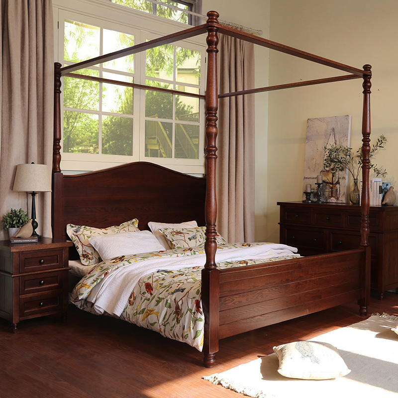 Tang ancient american american country double bed all solid wood oak bed bed 1.8 m cherry wood marriage bed