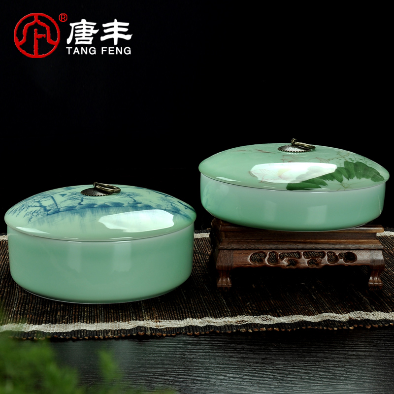 Tang feng cans painted longquan celadon ceramic canisters large three cake pu'er tea caddy sealed cans TF-2285