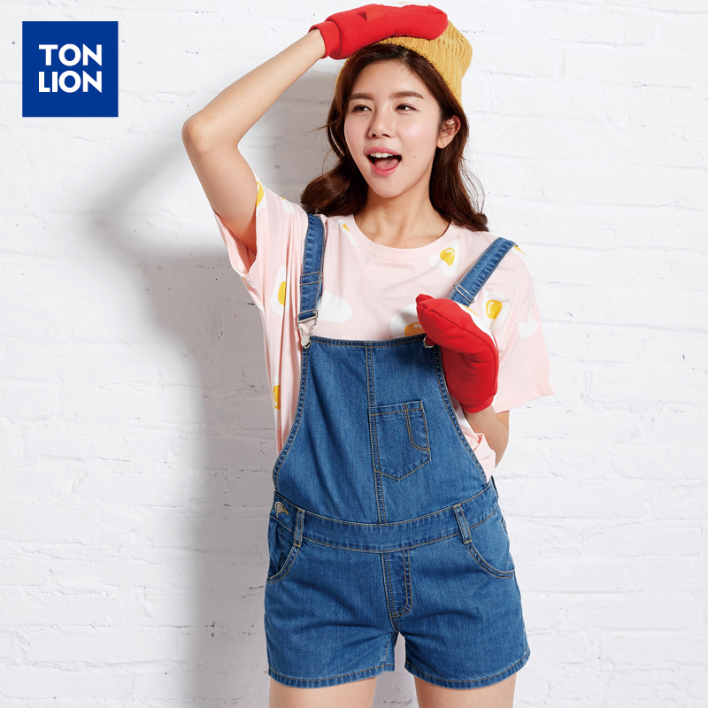 Tang lions ladies 2016 summer new denim shorts strap repair body classic street fashion personality wild shorts