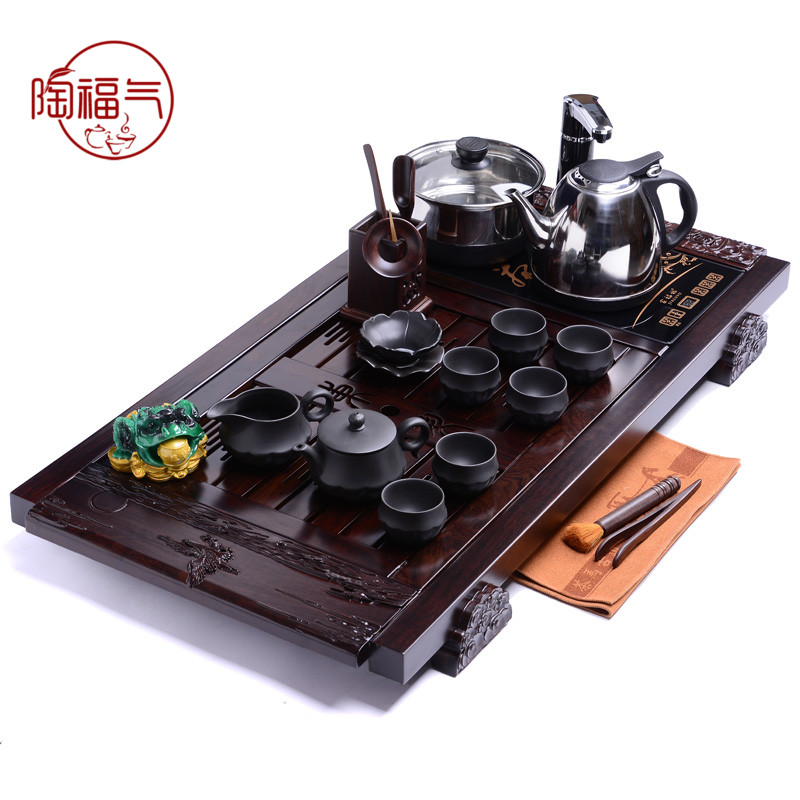 Tao blessing 》 《 ambitious exhibition of ebony wood tea tray yixing tea set ebony tea tray tea sets