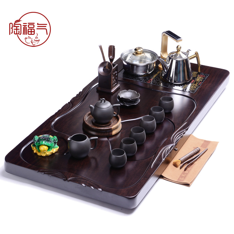 Tao blessing ã ã large ebony wood tea tray zen cloud ebony tea set yixing tea tray tea sea station