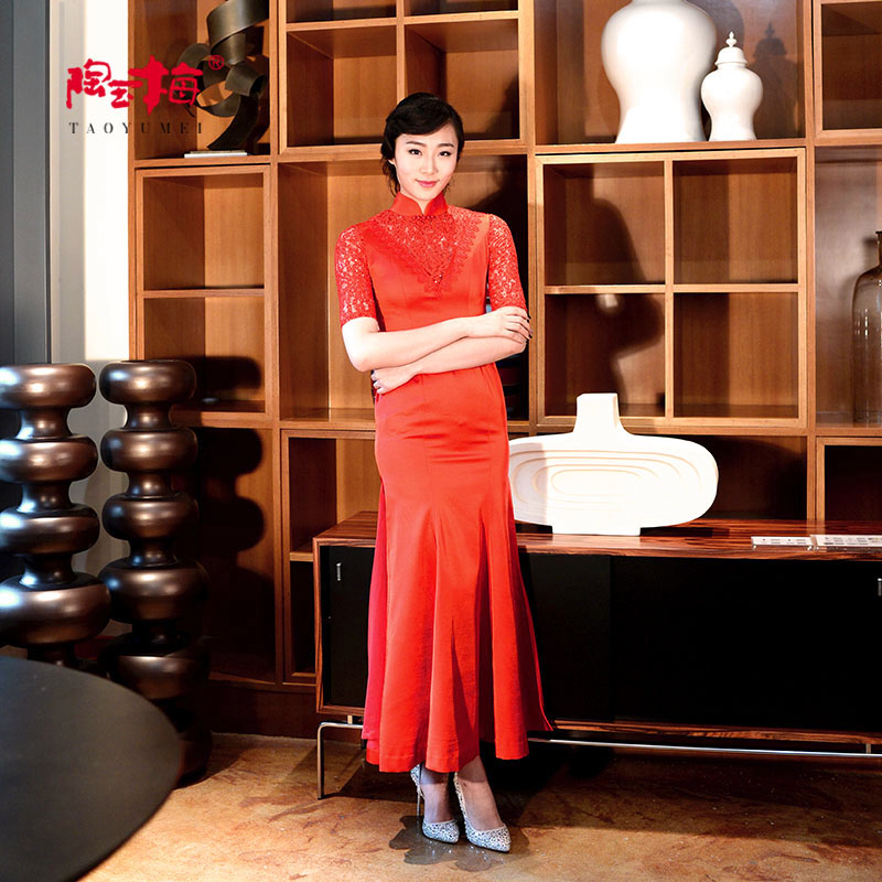 Tao yumei cheongsam cheongsam dress was thin slim long section of the spring and summer wedding dress bridal wear cheongsam dress nm23-h1 1Q136