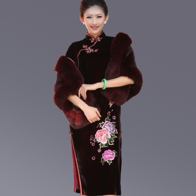 Tao yumei spring mulberry silk cheongsam cheongsam cheongsam pankou velvet embroidered cheongsam dress long section of D51Q108