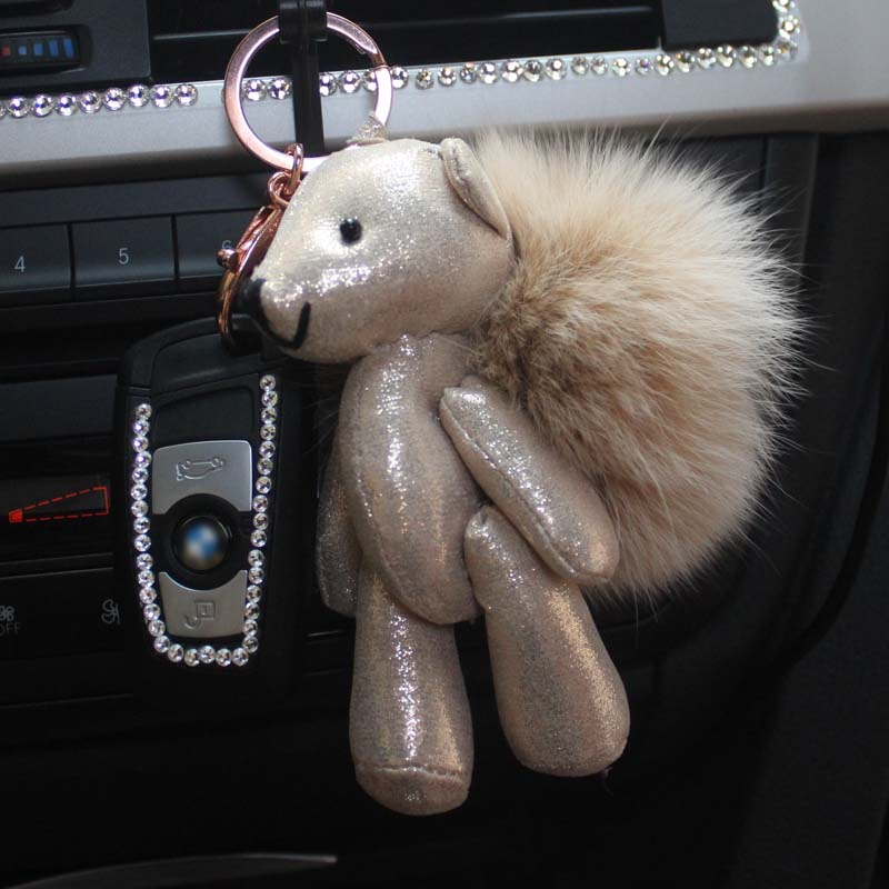 Teddy bear gloomy bag pendant fox fur ball ornaments car keychain gift keychain decoration