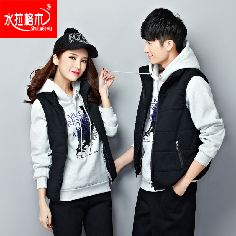 Teenagers fall and winter clothes korean version plus thick velvet sweater lovers men and women casual shipped move three piece suit school students