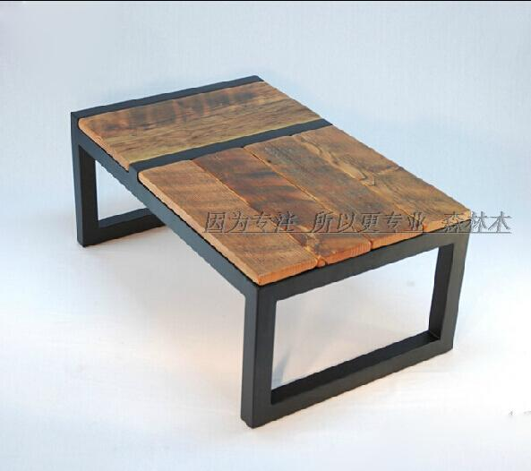 Tell the story of retro wood wrought iron coffee table loft american country french furniture in north europe and imitation rust do the old coffee table