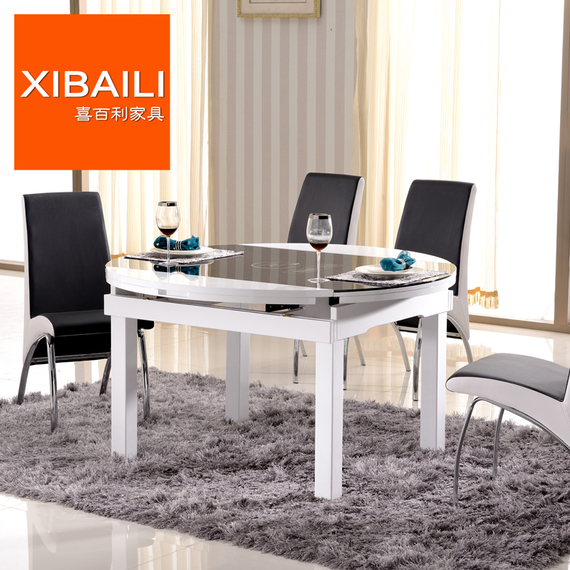 Tempered glass dining table small apartment living room modern minimalist stretch folding table round dining tables and chairs combination dining table