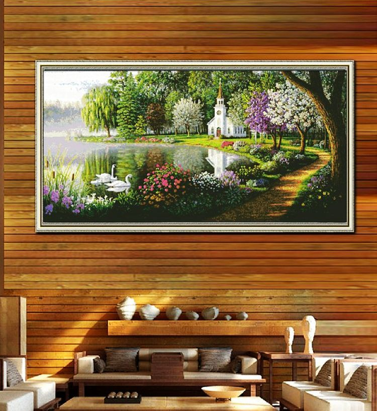 Ten princess precise printing france dmc cross stitch cross stitch new substantial living room rural scenery beautiful swan lake