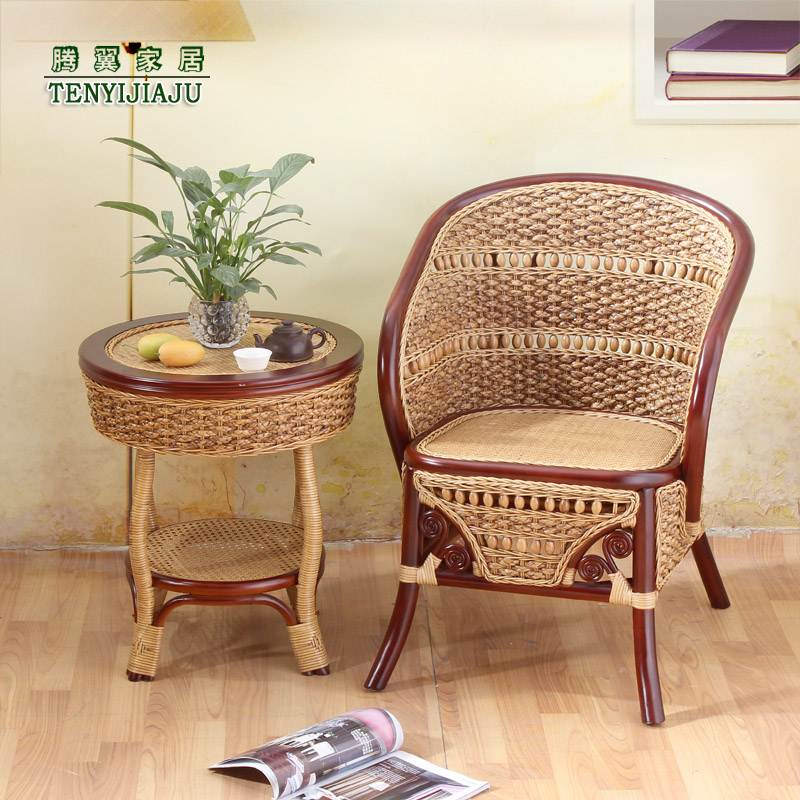 Tengyi natural wicker chair wicker chairs coffee table three sets of seagrass chair lounge chair balcony wicker chairs coffee table chair suit