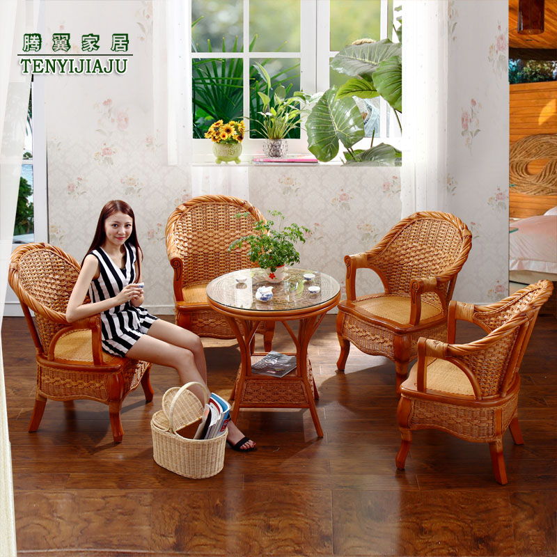 Tengyi really wicker chair wicker chairs coffee table three sets of wicker chair wujiantao combination of natural rattan chair leisure chair balcony chair specials